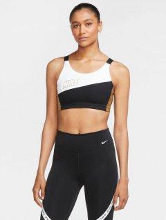 Спортивный топ Nike Swoosh Mtlc Logo Bra Pad CT3758-100 XS Бело-черный (194277639107)