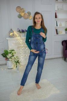 Комбінезон джинсовий для вагітних з потертостями (B3312-1) Хепі Неня 28 Синій