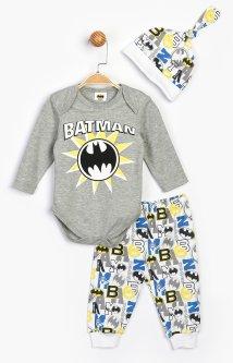 Комплект (боди + штанишки + шапочка) Cimpa Бэтмен BM16406 74-80 см Бело-серый (8691109830548)