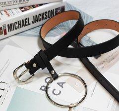 Ремень Пояс City-A Belt 105 см PU Кожа с подвеской Кольцом пряжка с закругленным Квадратом Черный