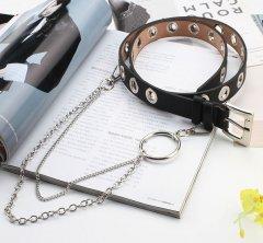 Ремень Пояс City-A Belt 100 см PU Кожа с Цепочкой и Кольцом Однорядный Черный
