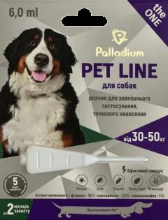 Капли на холку от блох, клещей и гельминтов Palladium Pet Line the One для собак весом от 30 до 50 кг (4820150205270)