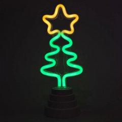 Светодиодная декорация Devilon Ёлочка на подставке Неоновый светильник, Ночник 11х9х28 см Зеленый+желтый (140564)