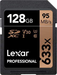 Lexar Professional 633x SDXC 128GB Class 10 UHS-I V30 U3 (LSD128CB633)
