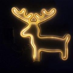 Светодиодная декорация Devilon Олень на подставке Неоновый светильник, Ночник 26х1.7х28 см Желтая (140618)