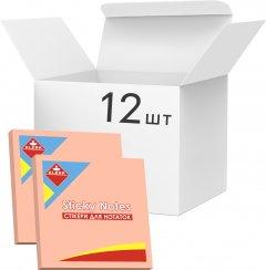 Набор бумаги для заметок KLERK с клейким слоем 76x76 мм 100 листов неон Розовой 12 шт (Я45175_KL21507_12)
