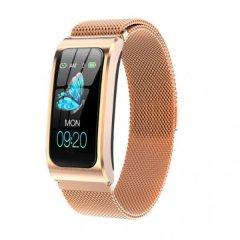Смарт-годинник HerzBand Classic 2 з металевим браслетом + Bluetooth 4.0 / пульсометр / тонометр / крокомір Золотистий