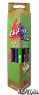 Карандаши цветные Marco Grip-Rite Jumbo с точилкой 12 цветов (9400-12CB)