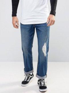 """Прямі джинси з потертостями ASOS AS020521-2 34"""" (7916734"""") Синій"""