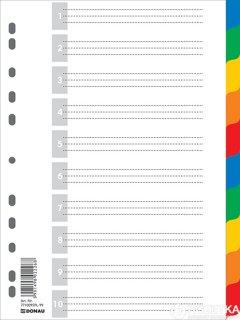 Пластиковые цветные разделители Donau А4 10 листов (7710095)