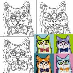Холст Rosa Start Pop Art Cat на картоне 30 х 30 см (4823086705210)