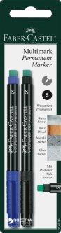 Маркер перманентный Faber-Castell Multimark Черный Синий S - 0.4 мм 2 шт (156296)