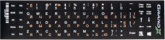 Наклейка на клавиатуру Grand-X 68 клавиш Украинский / Английский / Русский (GXDPOW)