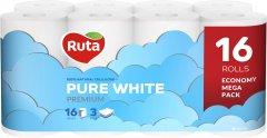 Туалетная бумага Ruta Pure White трехслойная 16 рулонов Белая (4820023748538_1)