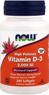 Витамины Now Foods Витамин D3 2000IU 240 желатиновых капсул (733739003775)