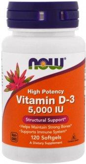 Витамины Now Foods Витамин D3 5000IU 120 желатиновых капсул (733739003720)
