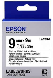 Картридж с лентой Epson LabelWorks LK3WBW Strong Adhesive 9 мм 9 м Black/White (C53S653007)