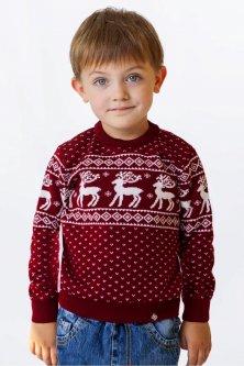 Свитер Рождественский с оленями детский FLEUR Lingerie 110 Бордовый