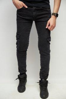 Джинси чоловічі джогеры Fashion Republic Mario Joggers 7258 з кишенями 31 Чорний