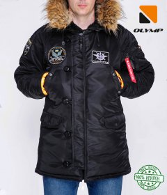 Зимова куртка Olymp N-3B АЛ-15 Аляска з нашивками S Чорна