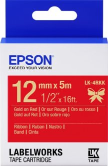 Картридж с лентой Epson LabelWorks LK4RKK 12 мм 5 м Gold/Red (C53S654033)