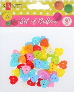 Набор пуговиц Santi Сердца пластик 15 мм 10 цветов 50 шт (5056137144228)