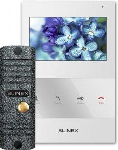 Комплект видеодомофона Slinex SQ-04 White + Вызывная панель ML-16НR Grey Antiq (SQ-04 (б)+ML-16НR (ант))