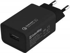 Сетевое зарядное устройство ColorWay 1 USB Quick Charge 3.0 (18W) Black (CW-CHS013Q-BK)