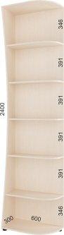 Консоль радиусная Феникс FM003285 240 x 30 x 60 см Венге светлый