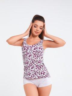 Комплект (майка + шорты) BARWA garments 0222/132 S Серый меланж с бордовым (2112221321241)