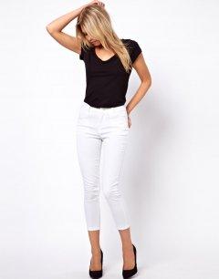 Облягаючі штани із завищеною талією ASOS AS463272 L (16043L) Білий