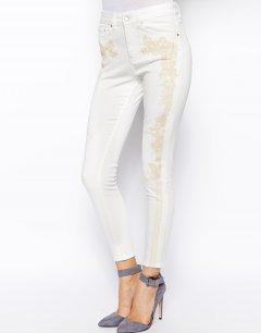 Білі укорочені джинси із завищеною талією і вишивкою ASOS AS445807 3XL (147073XL) Білий