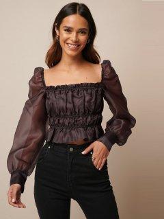Блуза из органзы со сборками и длинными рукавами NA-KD 1610000070 2XS (850312XS) Бордовый