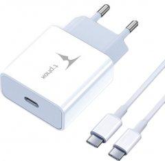 Сетевое зарядное устройство T-phox PD 18W Charger+Type-C-C 60W cable 1 м White (T-P01(W)+Type-C)