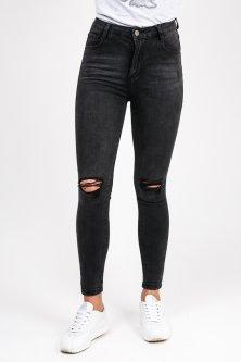 Черные джинсы с дырками на коленях Laulia - черный цвет, S (3D375)