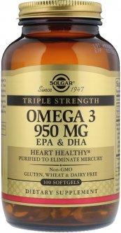 Жирные кислоты Solgar Omega-3 EPA, DHA Тройная Сила 950 мг 100 капсул (033984020580)