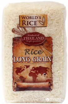 Упаковка риса World's Rice Long Grain Длиннозернистого Таиланд 2 шт х 1 кг (2003900)