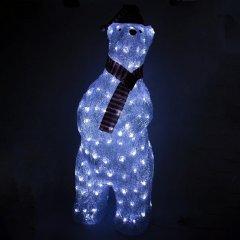 Новогодняя светодиодная фигурка Devilon Медведь 28х26х73 см 160 лампочек Белая (140281) (5102682140281)