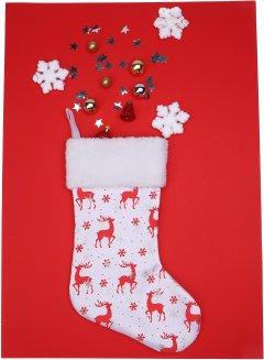 Носок для подарков ColorWay Merry Christmas Снежинки 38 см White (CW-MCS38WH)