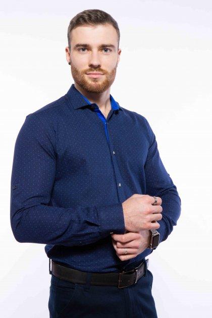 Рубашка мужская с мелким принтом Time of Style 204P1163 M Чернильно-голубой - изображение 1