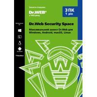 Антивирус Dr. Web Security Space 3 ПК/1 год (Версия 12.0). Картонный конверт (KHW-B-12M-3-A2) - изображение 1
