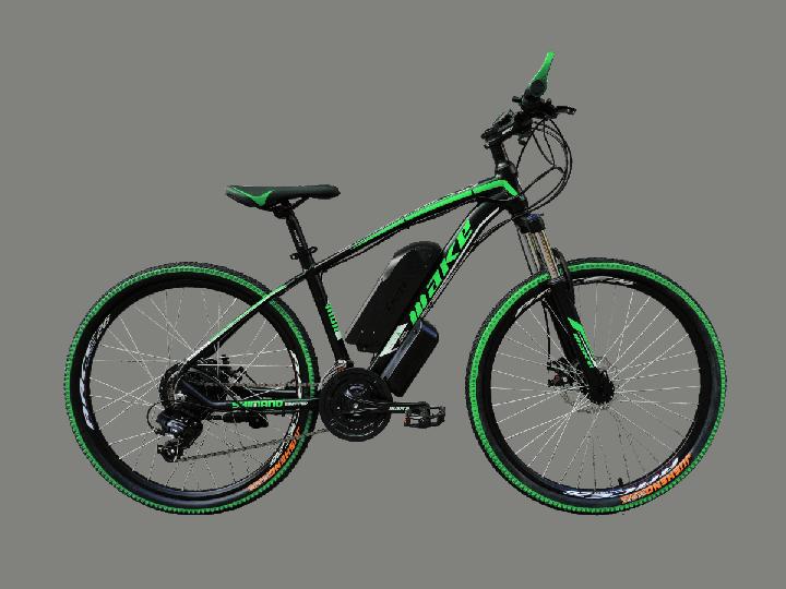 """Электровелосипед MAKE 36V 12Ah 500W рама 17""""/ 26"""" чёрно-зелёный - изображение 1"""