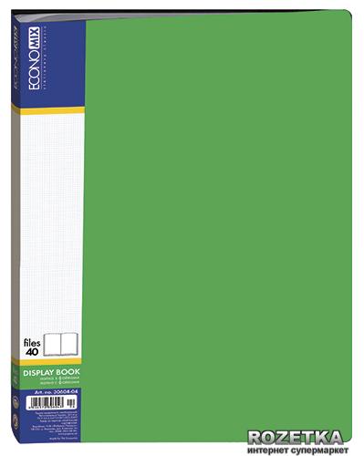 Папка пластиковая Economix А4 40 файлов Зеленая (30604-04)