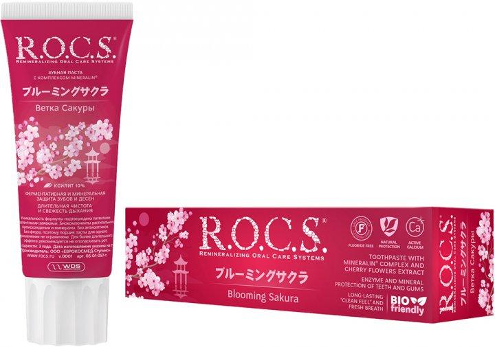 Зубная паста R.O.C.S. Ветка сакуры с ароматом мяты 74 г (4607034471750/4607034475017) - изображение 1