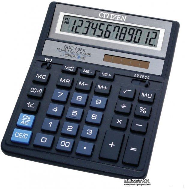 Калькулятор электронный Citizen 12-разрядный (SDC-888 XBL)