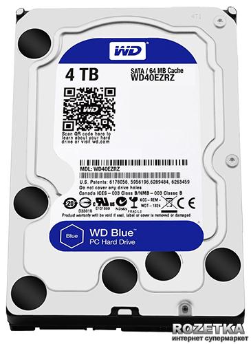 Жесткий диск Western Digital Blue 4TB 5400rpm 64MB WD40EZRZ 3.5 SATAIII - изображение 1