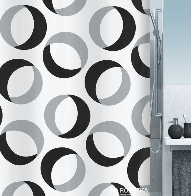 Шторка для ванной Spirella Rings 180x200 Polyester Серо-черная (10.15184) - изображение 1