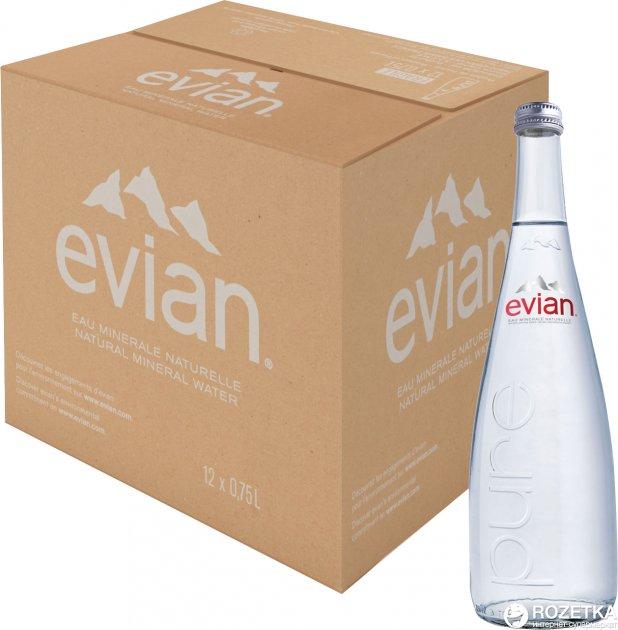 Упаковка минеральной негазированной воды Evian 0.75 л х 12 бутылок (3068320103389_3068320103433) - изображение 1