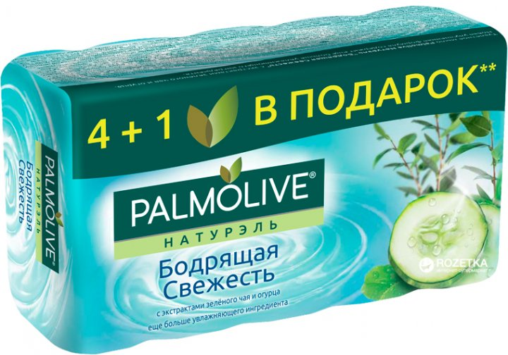 Мыло Palmolive Натурель туалетное Бодрящая свежесть с экстрактом зеленого чая и огурца 4 + +1 в подарок 5 x 70 г (8693495034555) - изображение 1