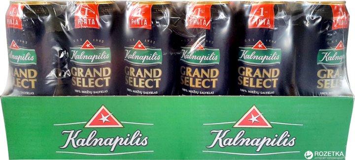 Упаковка пива Kalnapilis Grand Select світле фільтроване 5.4% 0.568 л х 24 шт (4770477226451) - зображення 1